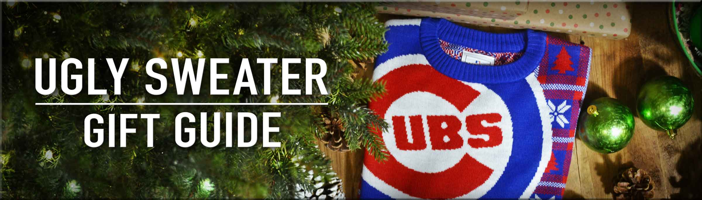 Ugly Sweaters Christmas Gift Guide - Ugly Sweaters from the Chicago Cubs, Blackhawks, Bulls, and Bears.