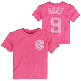 Chicago Cubs Javy Baez Pink Preschool Name and Number T-Shirt