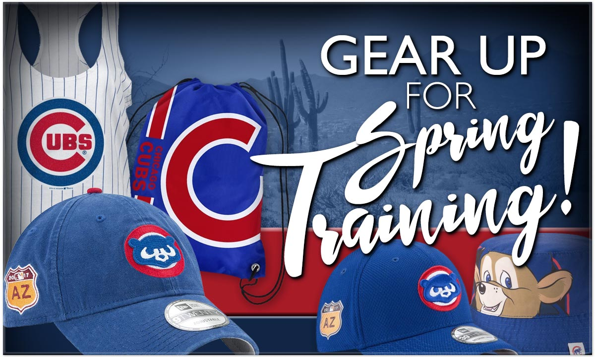 Gear Up For Cubs Spring Training, with Official Spring Training Caps, and other great merchandise for the desert!