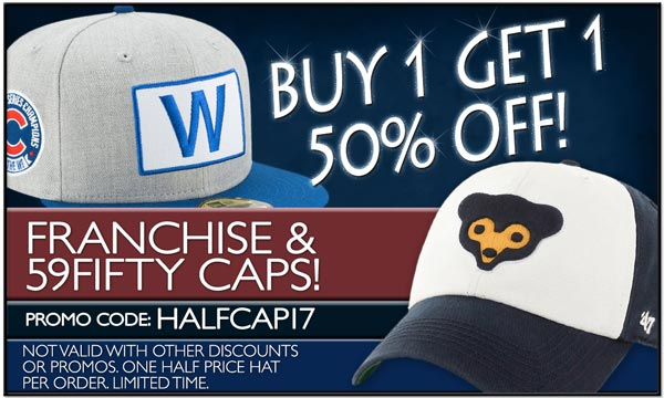Buy 1 Get 1 50% Off, on 59Fifty and Franchise Caps. Exclusions Apply. Use Code: HALFCAP17