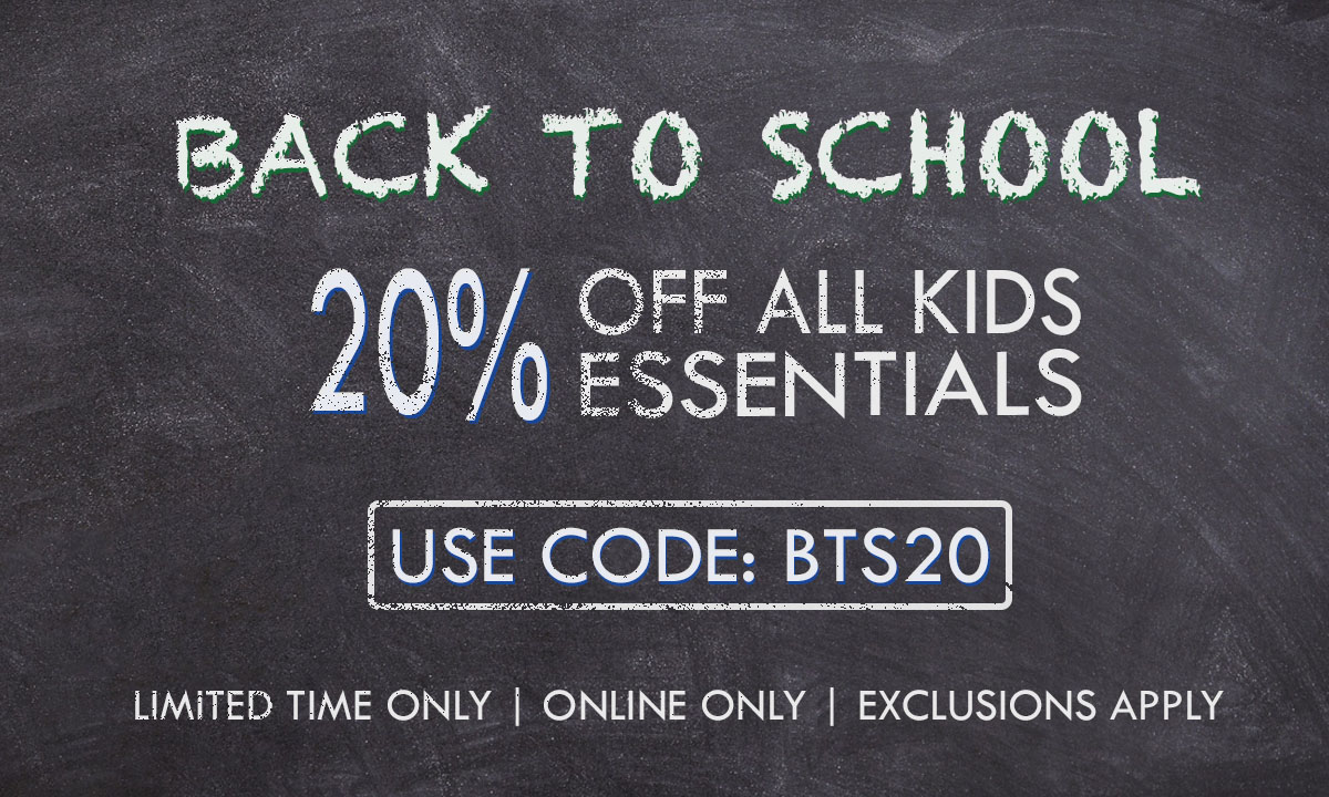 Enjoy 20% Off Back To School Essentials. Exclusions Apply. Online Only. Use code: BTS20