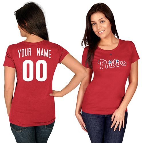 Philadelphia Phillies Ladies Personalized Name and Number T-Shirt 85c14b62408