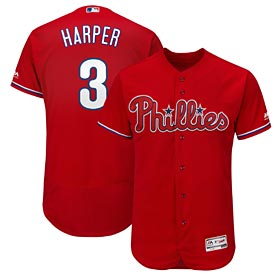 Philadelphia Phillies Bryce Harper Authentic Alt Red Flex Base Jersey