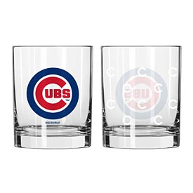Chicago Cubs Satin Etched Rocks Glass