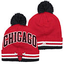 Chicago Bulls Wordmark Cuffed Pom Knit Hat