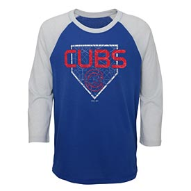 232dbbf0dd4d Chicago Cubs Youth 3 4 Sleeve Score Ultra Raglan Tee