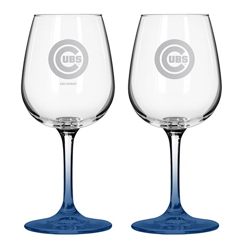 Chicago Cubs Satin Etched Stemmed Wine Glass