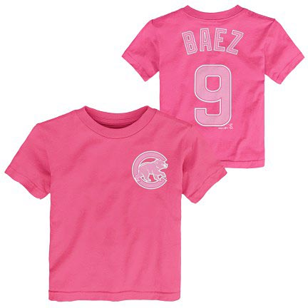 official photos 78e77 afdc1 Chicago Cubs Javy Baez Pink Youth Name and Number T-Shirt
