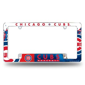 Chicago Cubs All Over Logo Chrome License Plate Frame