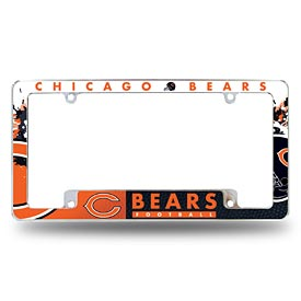 Chicago Bears All Over Logo Chrome License Plate Frame