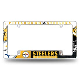 Pittsburgh Steelers All Over Logo Chrome License Plate Frame