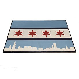 Chicago Flag City Scape 12x18 Wood Sign