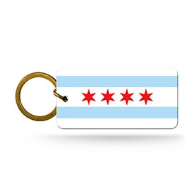 Chicago Flag Crystal View Keychain
