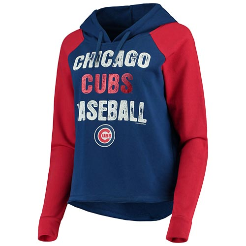 100% authentic bc7ef aae2c Chicago Cubs Ladies Loose Fit French Terry Hooded Pullover Sweatshirt