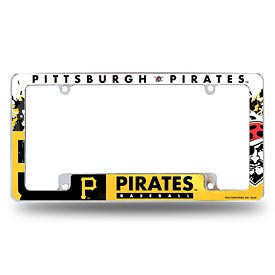 Pittsburgh Pirates All Over Logo Chrome License Plate Frame