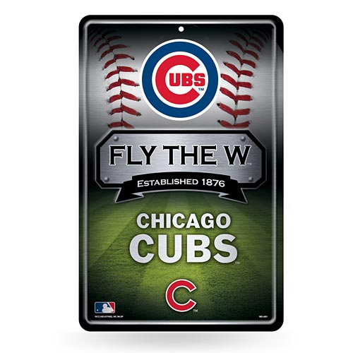 Chicago Cubs 11X17 Metal Embossed Wall Sign