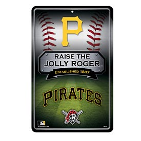 Pittsburgh Pirates 11X17 Metal Embossed Wall Sign