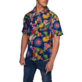 Chicago Cubs Fruit Pattern 1/4 Button Up Hawaiian Shirt