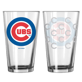 Chicago Cubs Etched Logos Pint Glass