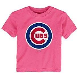 Chicago Cubs Preschool Pink Full Color Bullseye Logo T-Shirt