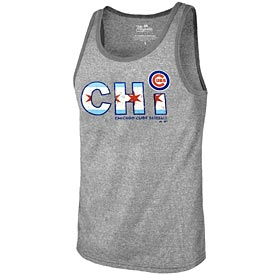 Chicago Cubs Heather Triblend Logo Tank Top