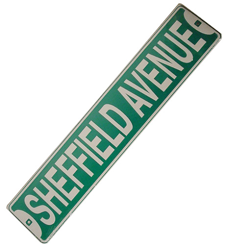 Sheffield Ave. Metal Street Sign