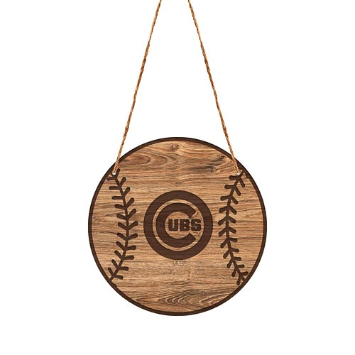 Chicago Cubs Logo Laser Engraved Wood