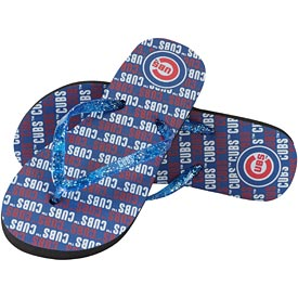 Chicago Cubs Ladies Repeat Wordmark Glitter Flip Flops