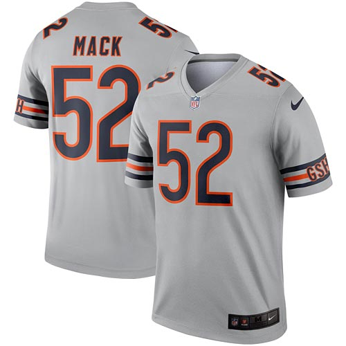 cheap for discount c88a3 7b1df Chicago Bears Khalil Mack Silver Legend Replica Jersey