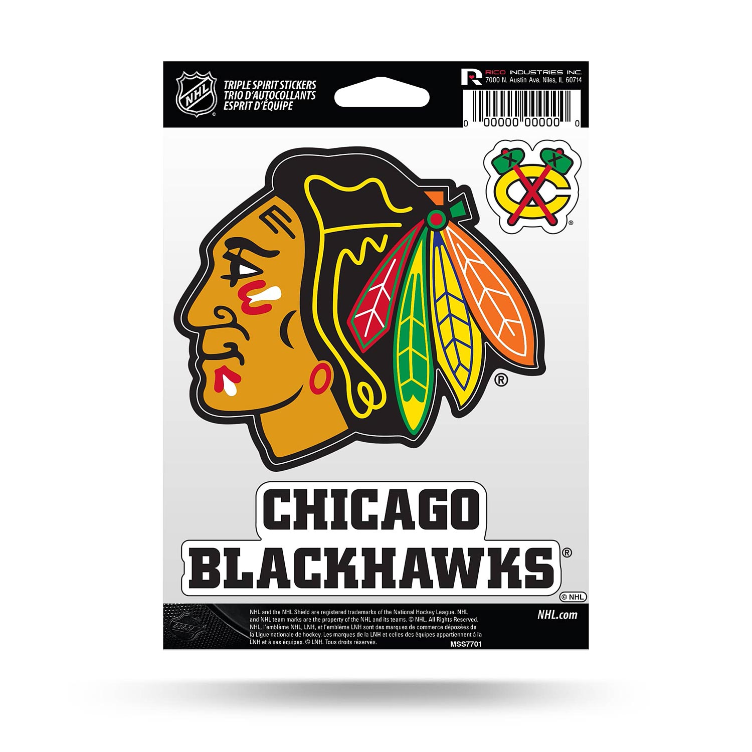 Marque H Et H chicago blackhawks triple spirit stickers