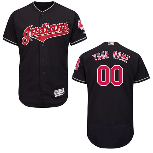 51b7a552 Cleveland Indians Alternate Navy Flexbase Authentic Collection Customized  Jersey