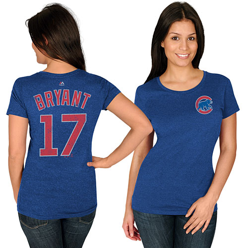 Chicago Cubs Kris Bryant Ladies Name and Number T-Shirt cf7f15e3d8