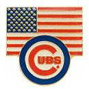 Chicago Cubs American Flag Bullseye Souvenir Pin