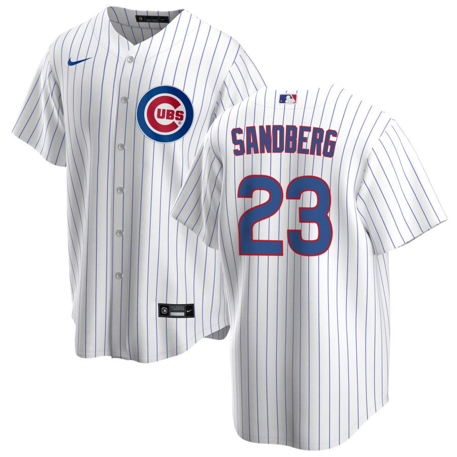Chicago Cubs Ryne Sandberg Home Nike Replica Jersey With Authentic ...