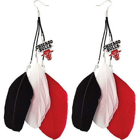 Chicago Bulls Fan Feather Earrings