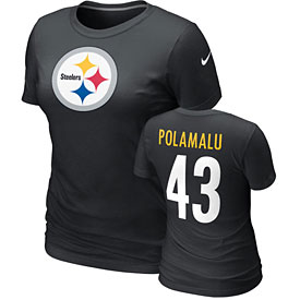 Pittsburgh Steelers Troy Polamalu Ladies Name and Number T-Shirt