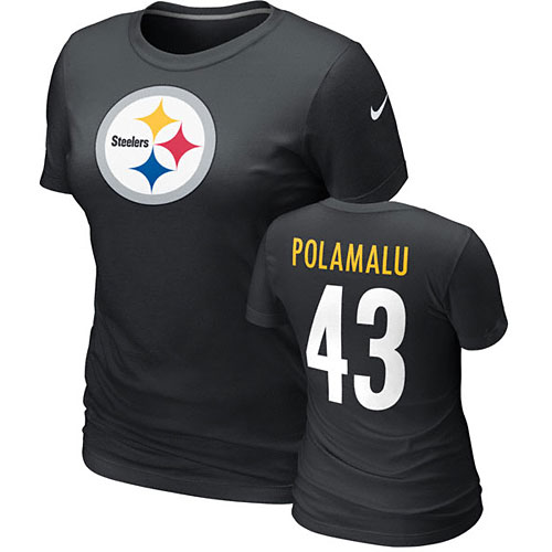 a20e1d8b Pittsburgh Steelers Troy Polamalu Ladies Name and Number T-Shirt
