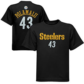 Pittsburgh Steelers Troy Polamalu Youth Primary Name and Number T-Shirt
