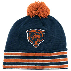 Chicago Bears Throwback Jersey Stripe Cuffed Pom Knit Hat