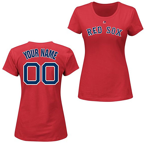 Boston Red Sox Ladies Red Personalized Name and Number T-Shirt 09166fa9503