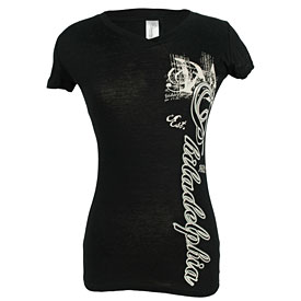 City of Philadelphia Ladies Black Established V-Neck T-Shirt