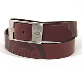 Chicago Cubs Leather Brandish Brown Belt