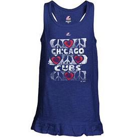 Chicago Cubs Youth Girls Flutterball Tank Top