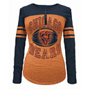 Chicago Bears Ladies Distressed Logo Tri-Blend Long Sleeve T-Shirt