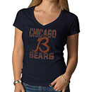 Chicago Bears Ladies B Logo V-Neck Scrum T-Shirt