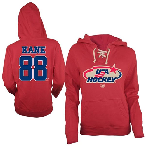 2014 Olympics Team USA Hockey Patrick Kane Ladies Queensboro Name & Number Hooded Sweatshirt