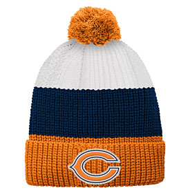 Chicago Bears Youth Vintage Ribbed Knit Hat with Pom