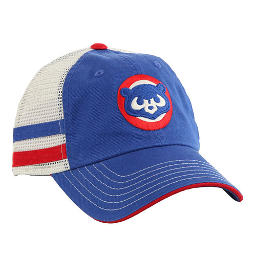 615f29700a21c1 Chicago Cubs Foundry Striped Trucker Snapback Adjustable Cap