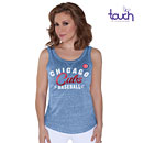Chicago Cubs Ladies Playoff Glitter Tri-Blend Tank Top