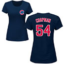 Chicago Cubs Aroldis Chapman Ladies Navy Name and Number T-Shirt